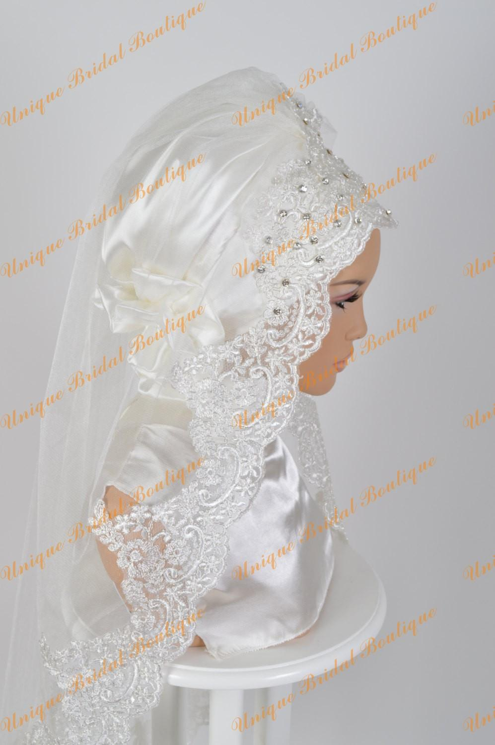 Luxury Muslim Wedding Veils 2016 with Lace Appliqued Edge and Crystals One Layer Tulle Elbow Length Bridal Hijab Custom Made