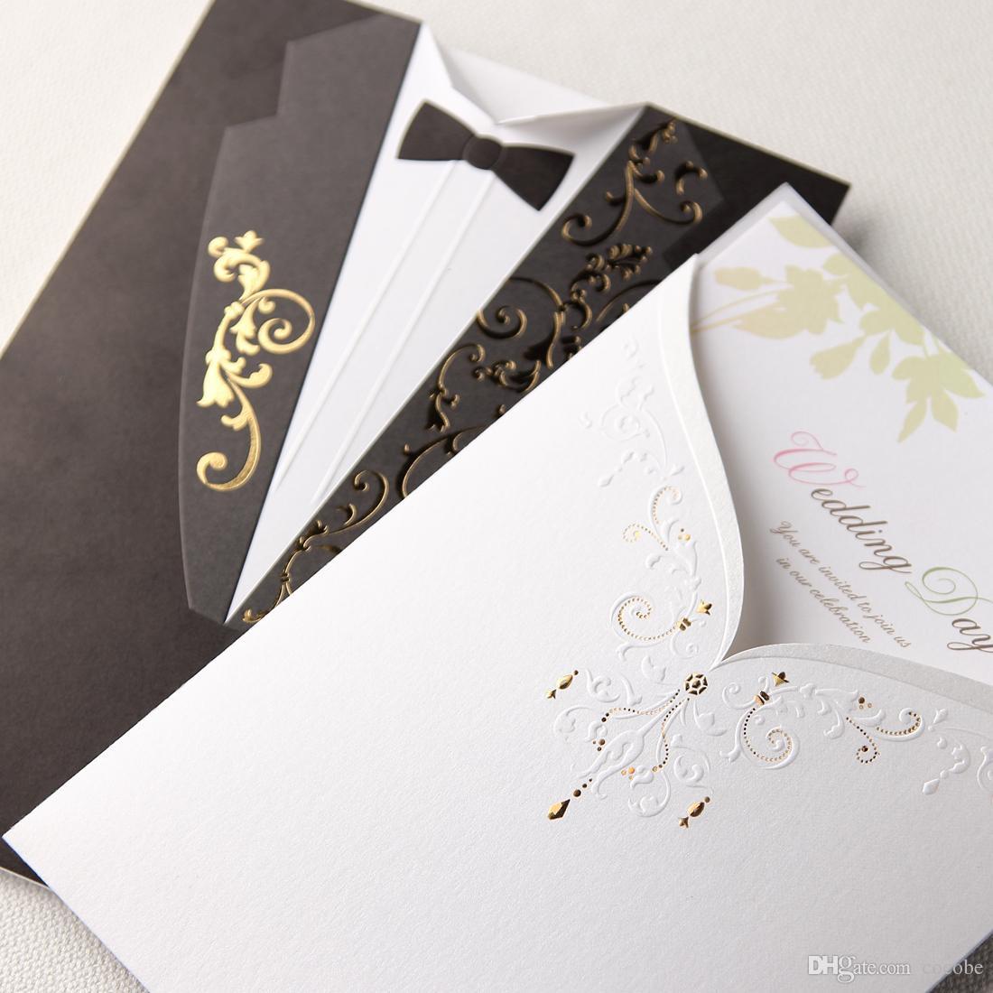 Lazer Kesim Düğün Davetiyeleri Zarif Vintage Damat ve Gelin Siyah Beyaz Örgün Nişan Düğün Iyilik için Kart Davet CW2011