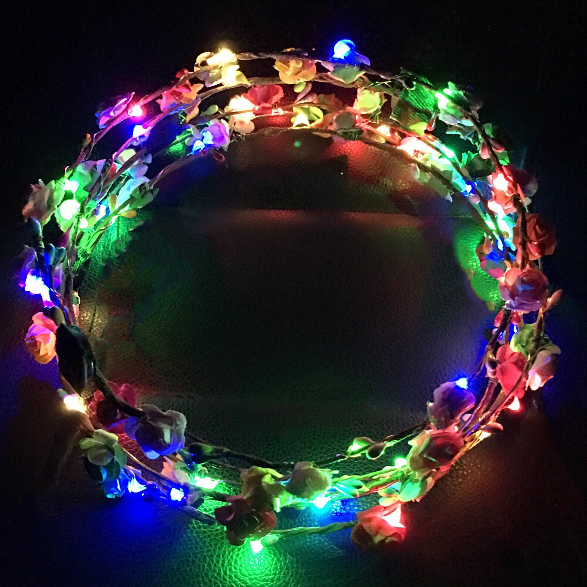 light colorful lights on the beach garland wreath headdress spots