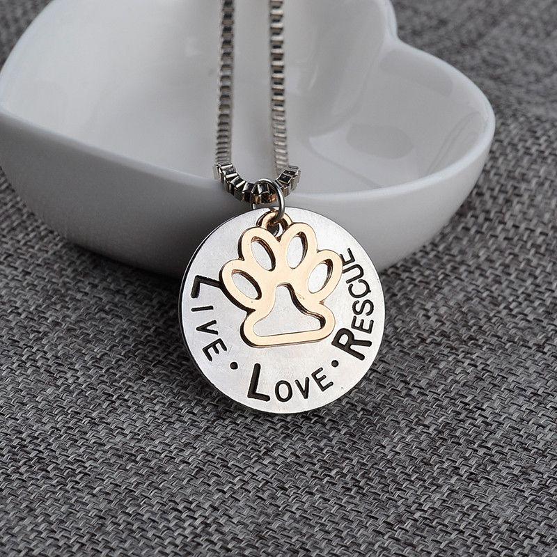 2019 Sunshine Live Love Rescue Adopción de mascotas Colgante Collar Estampado a mano Personalizado Refugio para mascotas Pet Rescue Paw Imprimir Gato Perro amante
