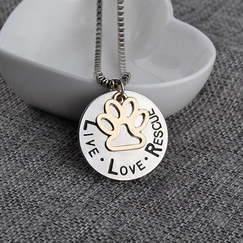 2019 Sunshine Live Love Rescue Pet Adoption Pendente Collana Mano Timbrato Personalizzato Animal Shelter Pet Rescue Paw Print Cat Dog Lover