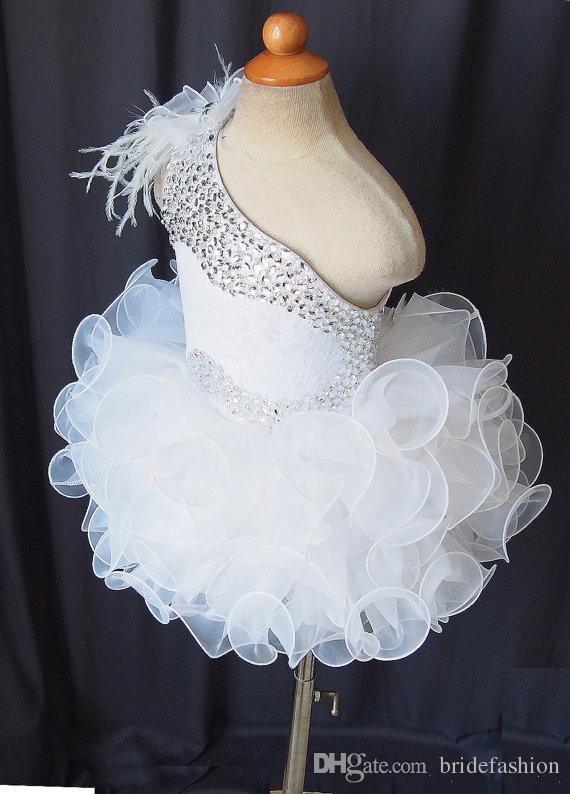 Una spalla di pizzo pizzo ragazze fiore organza perline cupcake bambine pageant abiti bambini toddler glitz prom Abiti da ballo infantili