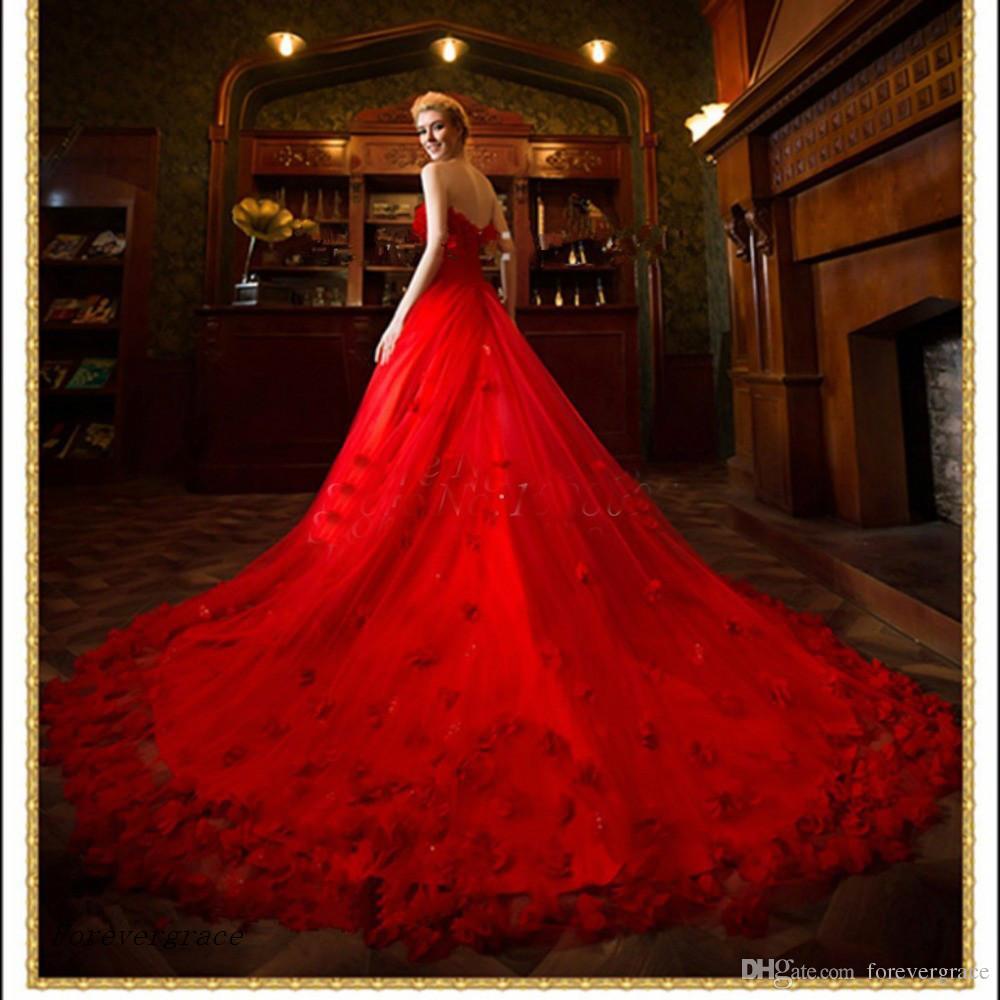 Abito da sposa rosso A-Line Lunghezza pavimento Lunga Abbigliamento donna Occasioni speciali Abito da festa da sposa Plus Size Vestido De Noiva Longo