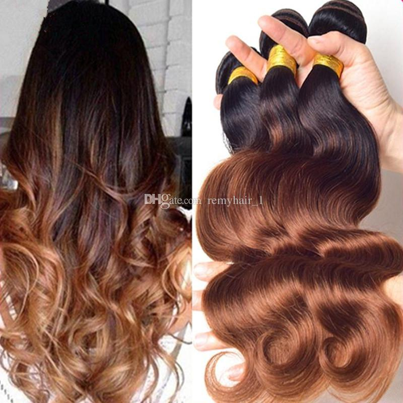 8a Two Tone Ombre Hair Extensions Peruvian Hair Body Wave Wavy Cheap