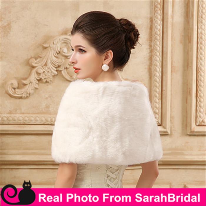 Cheap In Stock Bridal Wraps Fake Faux Fur Hollywood Glamour Wedding Jackets Street Style Fashion Cover up Cape Stole Coat Shrug Shawl Bolero