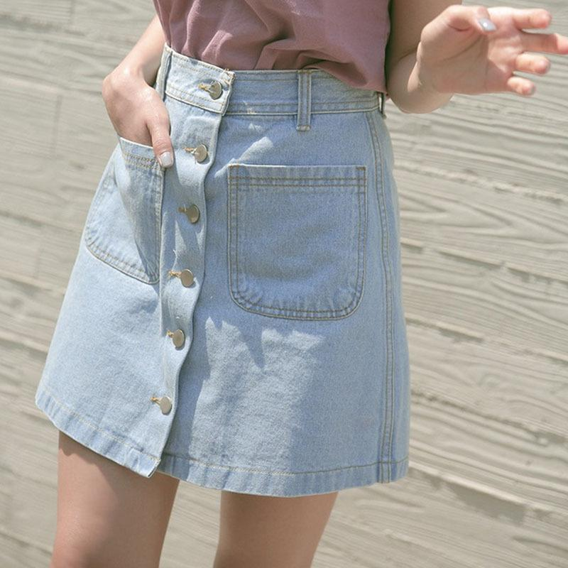 Best Vintage High Waisted Denim Skirt Female Summer Thin 2016 New ...