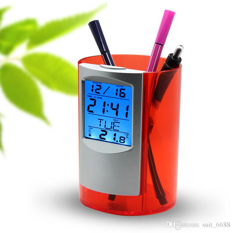 free shMulti-function electronic calendar pen holder creative cute Korean fashion ornaments pen holder office supplies Desktop customization