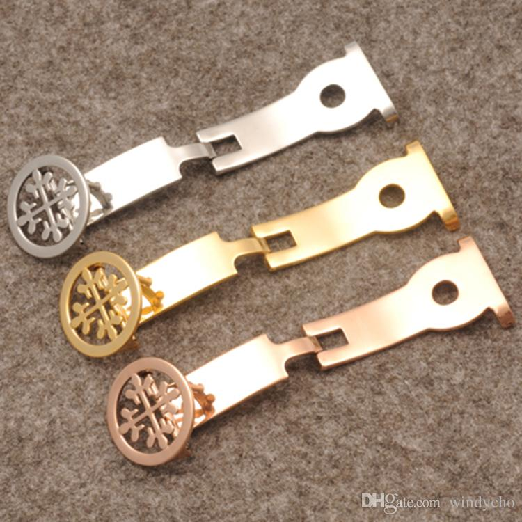 Nueva llegada Correas de reloj Hebilla Corchete de acero inoxidable 18 mm Marca de cuero Rosegold / Despliegue de plata Envío gratis Se ajusta a la marca