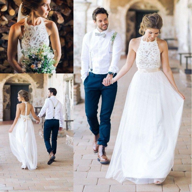 2016 Simple Design White Fall Wedding Dresses Halter
