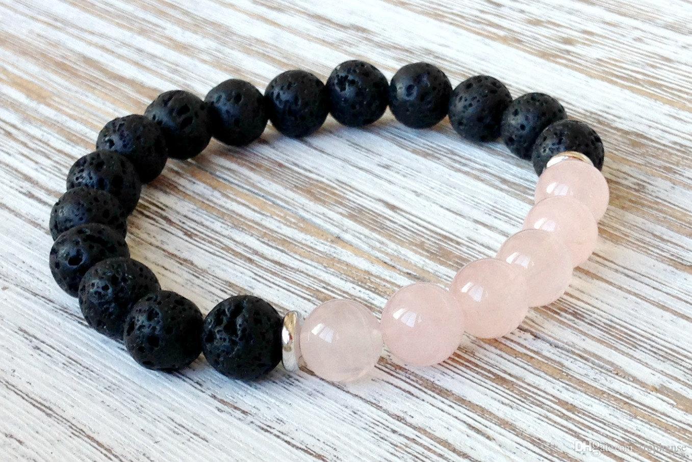 SN1061 Vente Chaude Rose Quartz Lava Yoga Bracelet Cristaux De Guérison Poignet Mala Perles Chakra Bijoux En Pierre Naturelle Yoga Bracelet