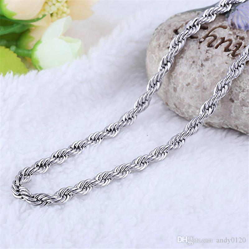 Collana all'ingrosso della catena di modo dei gioielli dell'argento sterlina di 2MM 16-30inches 925 le donne degli uomini /