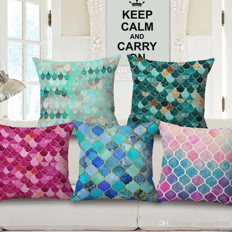 Modern Colorful Cushion Cover Fuchsia Blue Green Mixed Colors Almofada  Nordic European Style Sofa Couch Throw Pillow Case Fundas Cojines Replacement  Patio ...