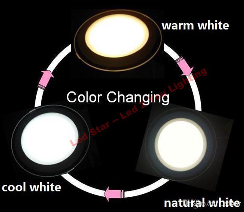 3 ألوان في 1 مصباح أضواء LED لوحة 3W 5W 7W 9W 12W رقيقة جدا لوحة أضواء السقف بقيادة + السائقين 110-240V