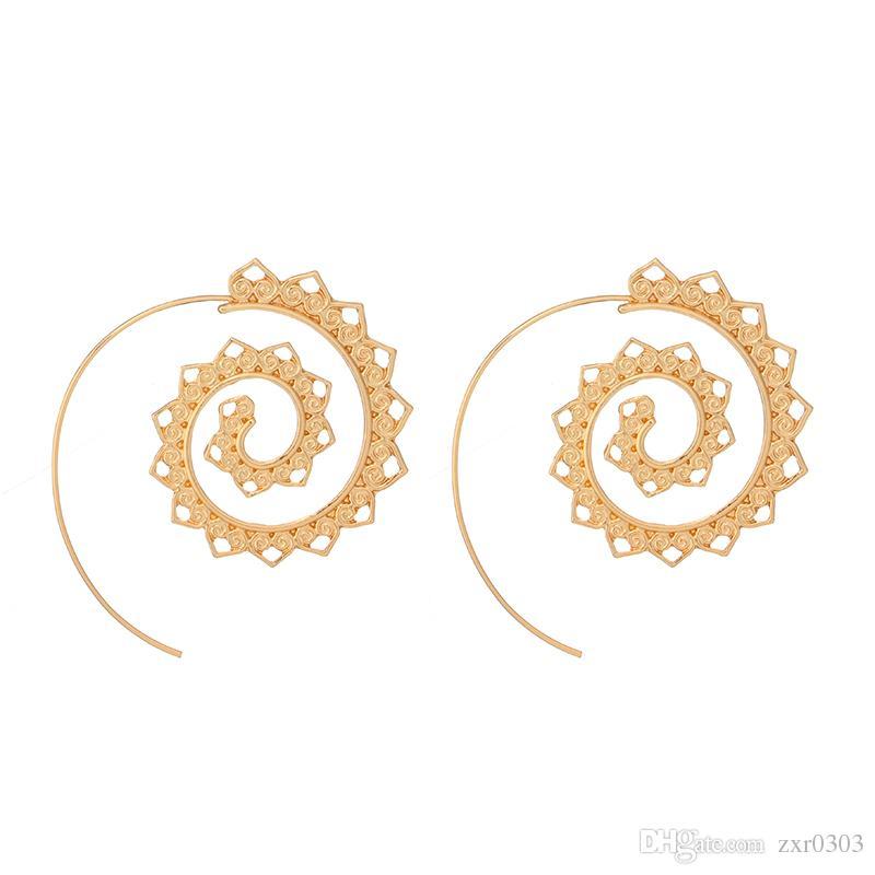 Verzierten Wirbel Hoop Gypsy Indian Tribal Ethnic baumeln Ohrringe Boho Ohrringe für Frauen Schmuck Zubehör Geschenke