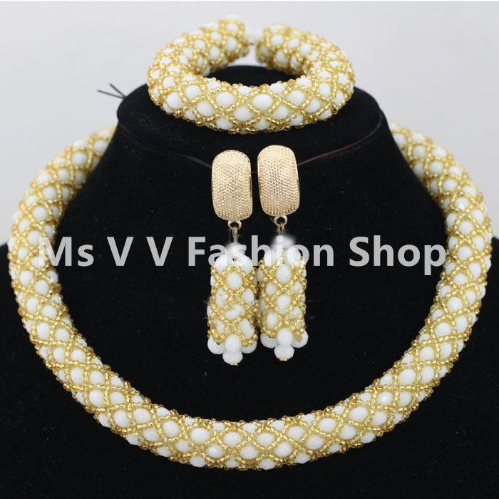 single blue necklace earrings Sets nigerian wedding african Chokers Gold statement Necklaces women jewelry Christmas gift