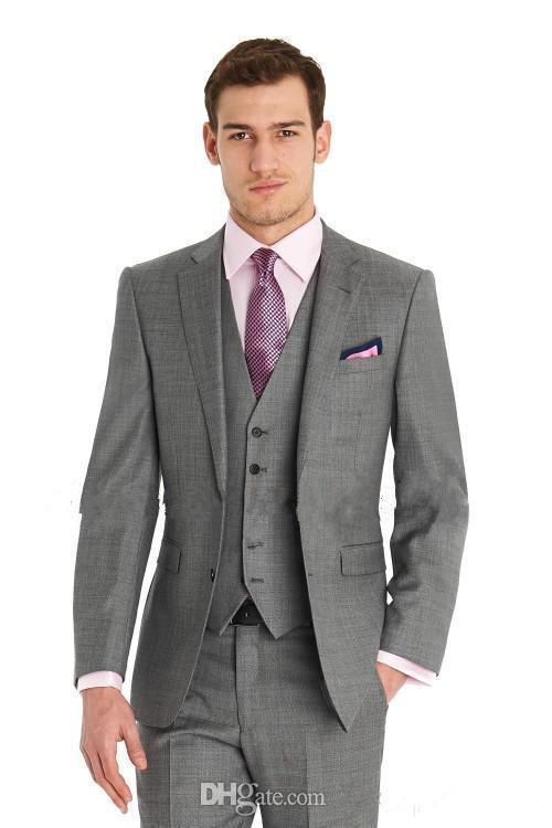 Yeni Custom Made Slim Fit Damat Smokin Yan Yarık Best Man Suit Düğün Sağdıç Erkekler Damat Takımları Ceket + Pantolon + Kravat + Yelek