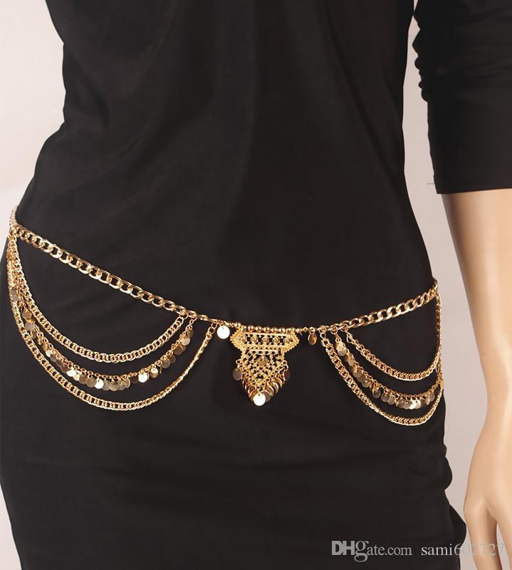 2016 Moda Vintage Çingene TurkishMetal Dangle Katmanlı Sequins Püskül Göbek Zinciri Boho Bohemian Shimmy Kemer Dans Gösterisi Bel zinciri