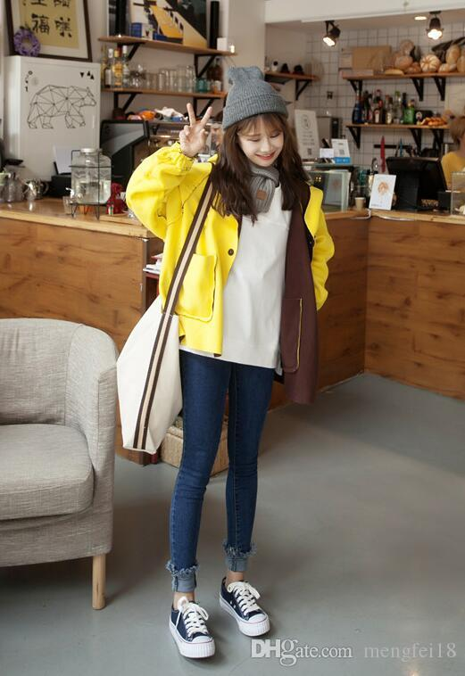 Qiu dong han edition of the original SuFeng BF color matching loose long-sleeved add wool fleece jacket cardigan student leisure coat