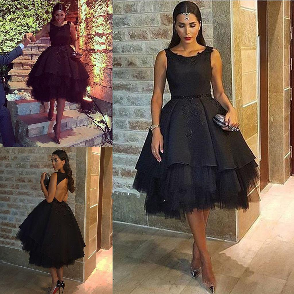 Short Black Evening Dresses Lace Appliques Ball Gown Custom Made ...