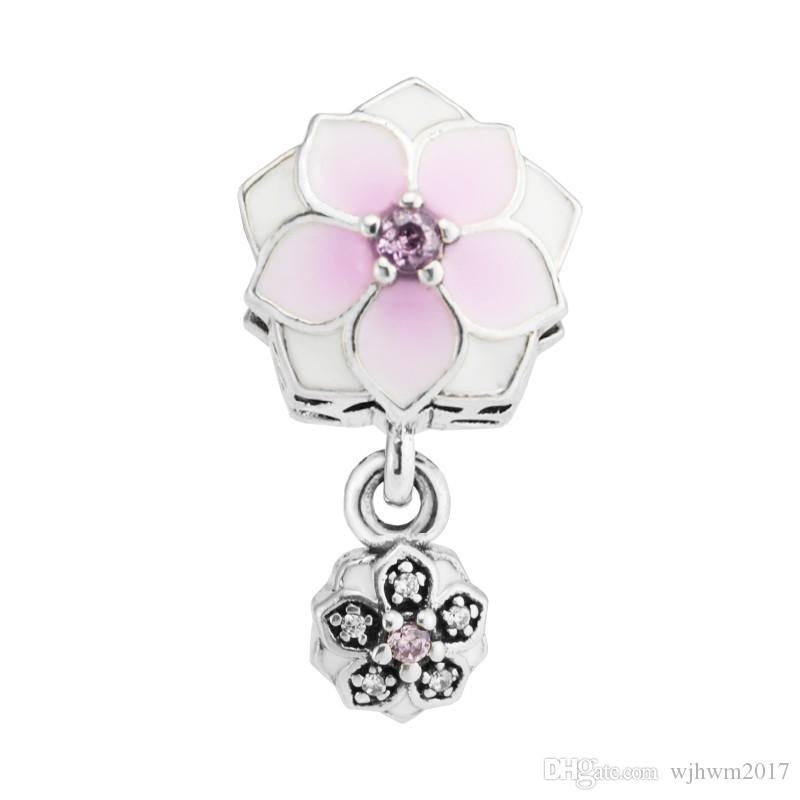 96507e21f 2019 Pink Enamel Magnolia Bloom Dangle Charms Beads Authentic 925 Sterling  Silver Jewelry AAA CZ Flower Bead For DIY Bracelets Making Accessories From  ...