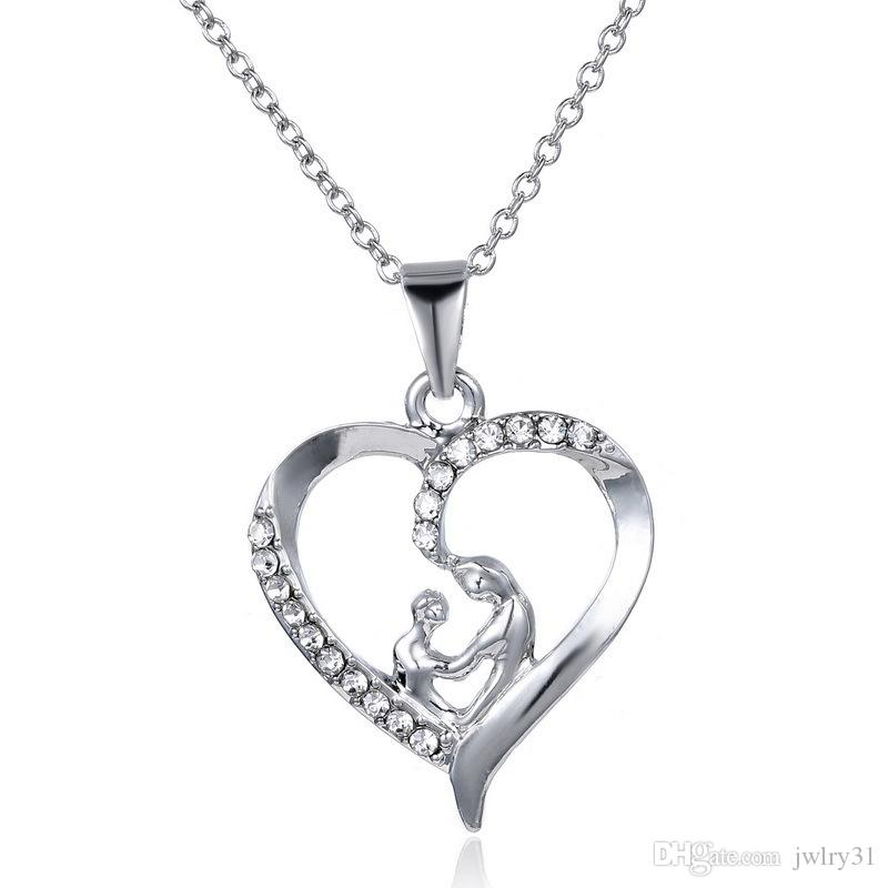 Fête des mères élégant cristal pendentif coeur collier Antique argent charme chaîne lien bijoux pour les femmes
