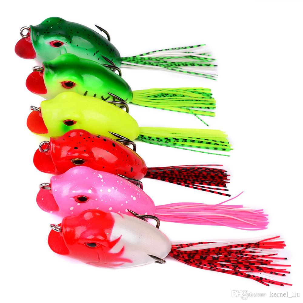 6-color 6cm 16g Ray Frog Silicone Lures Fishing Lure Soft Baits Fishing Hooks Fsihhooks Double Hook Artificial Pesca Tackle Accessories