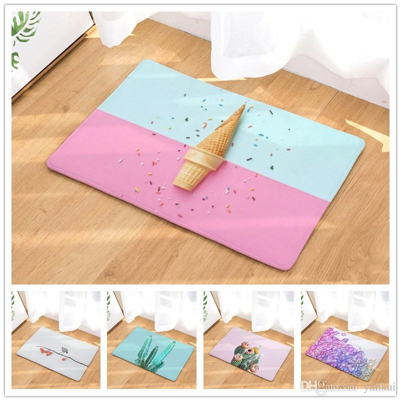Colored Ice Cream Fruit Flowers Plant Patterns Floor Mats Bathroom ...