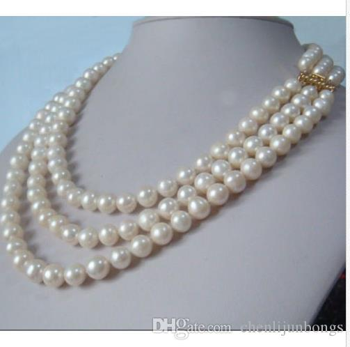 """3 row strands natural 9-10mm akoya white pearl necklace 18""""19""""20"""" 14K gold clasp"""