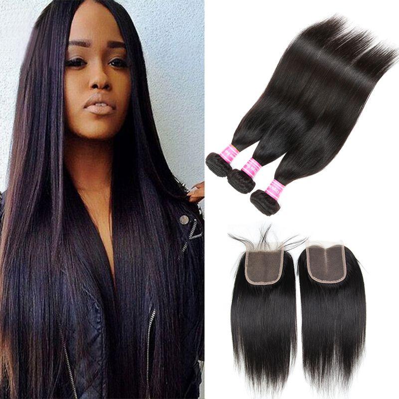 2018 Cosy Silk Straight Hair Weaves Closure 3 Bundles And Closure