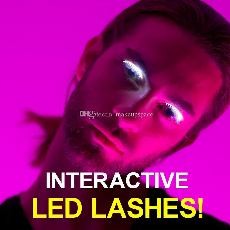 LED Faux Cils 6 Couleurs Glitter F.Eyelash Cils Lumineux Brillant Faux Paupière Cils Yeux Imperméables Pour Hollowen Boîte De Noël