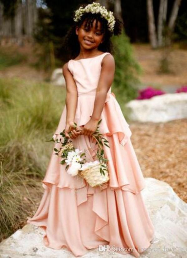 Blush rose robes fille fleur pour les mariages Bateau cou manches longues à volants Longueur pleine enfants de soirée de mariage Robes de Teen Tenue de soirée
