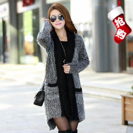 6f871922c31 2019 Wholesale 2016 Fashion New Women Cardigan Loose Plus Size Mohair  Winter Vintage Woman Sweater Long Cardigan Outerwear Coats Black Grey From  Stepheen