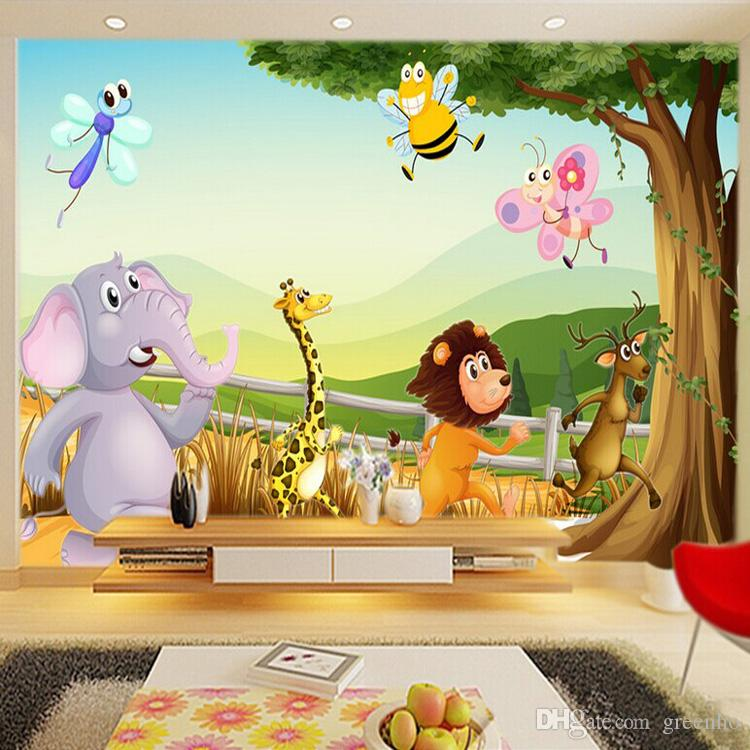 cartoon 3d wallpaper forest zoo wall murals personalized. Black Bedroom Furniture Sets. Home Design Ideas