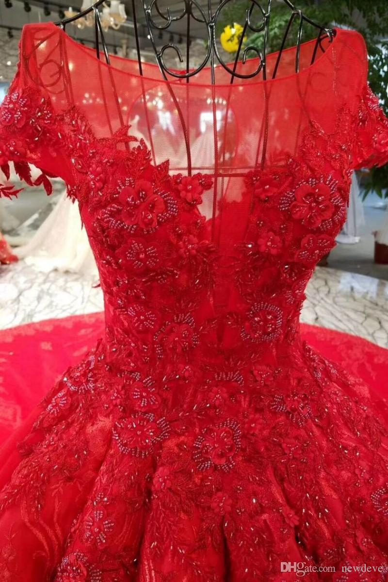 Red Expensive Lace Ball Gown Wedding Dresses 2018 Hot Hollow Back Wedding Gowns With Sleeves Bling Vestidos De Noiva