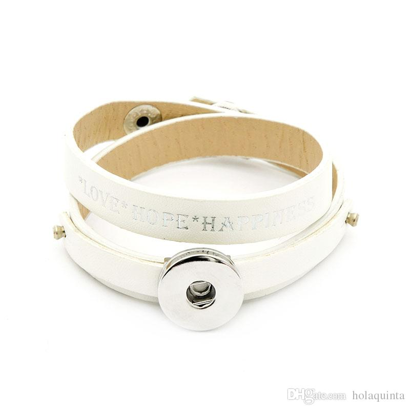 noosa PU leather bracelet hot silver pressed plating double wrap