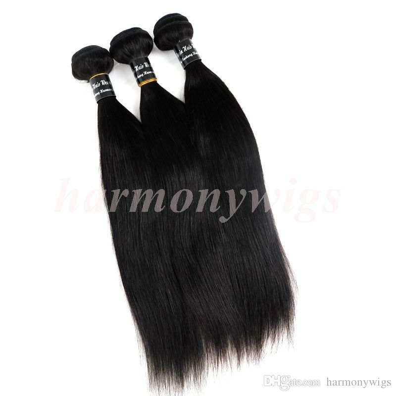 Armadura de cabello humano brasileño virginal Cabello liso Paquetes tramas 8 ~ 34 pulgadas Extensiones del cabello teñibles de la India peruana de Malasia