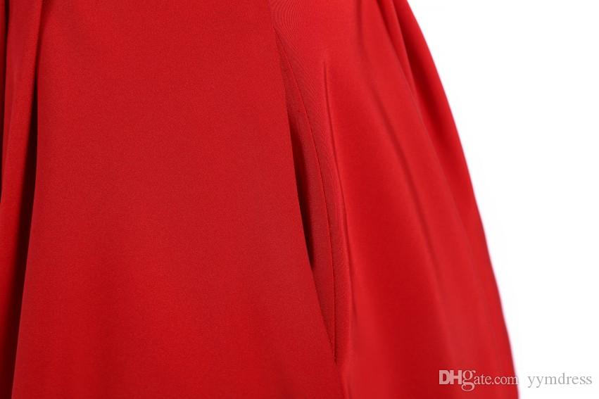 2019 New Short Prom Dresses V neck A-line Cocktail Satin Sexy Homecoming Gown For Junior Girls Red Pockets Pageant Dress