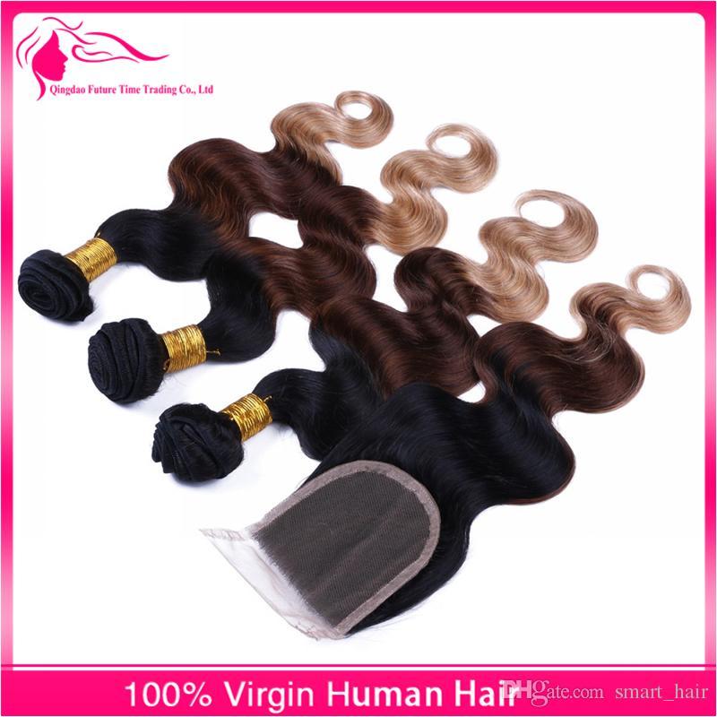 Ombre Hair # 1B / 4/27 Hair Bundles Mit Lace Closure 3 Farbe Menschliches Haar Spinnt Körperwelle Lace Closure Mit Haarverlängerungen