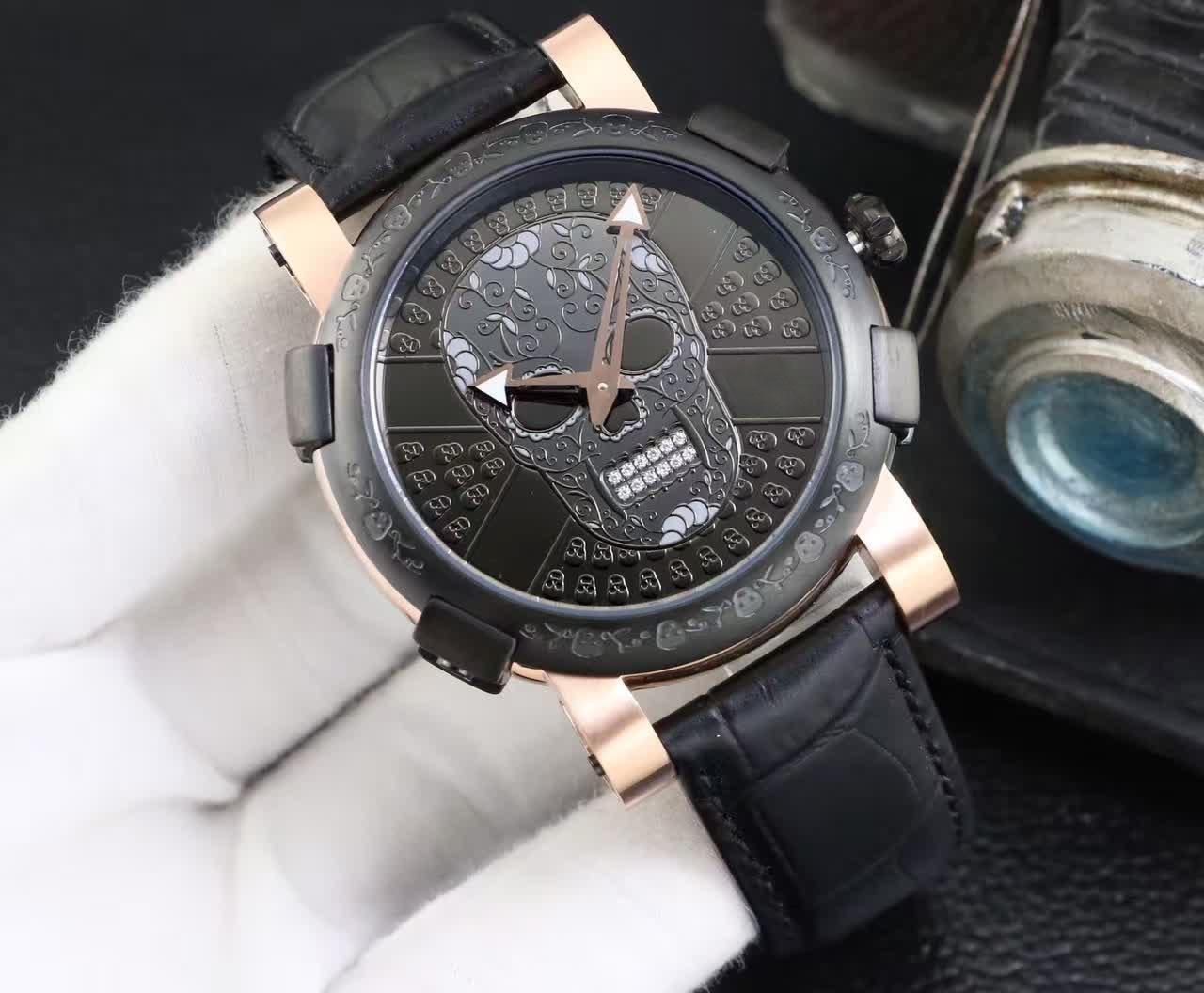 Neueste Mode Schwarz und Rose Gold Edelstahl Männer Kleid Armbanduhren Quarz Schädel Uhr Männer Geschenk Uhren Für Mann