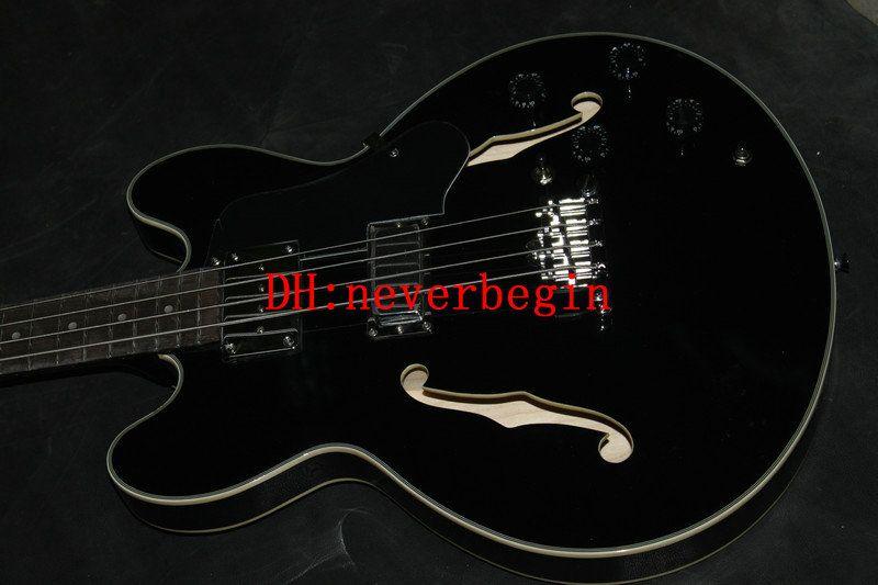 Custom Black hollow bass Corde basso elettrico BASS Guitars Cina chitarra Spedizione gratuita
