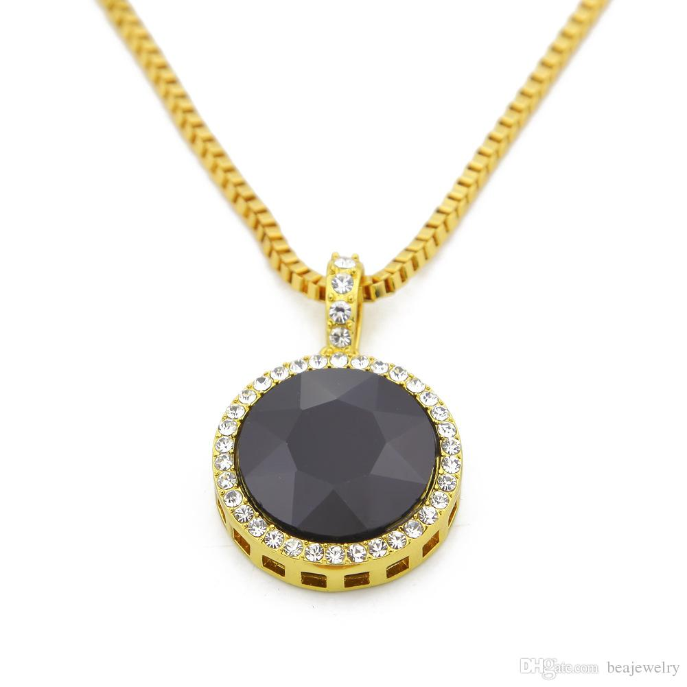 "24k Gold Plated HipHop Iced Out Red Ruby Round Pendant with 3mm 29.5"" Box Chain Ruby Stone Pendant Necklace"