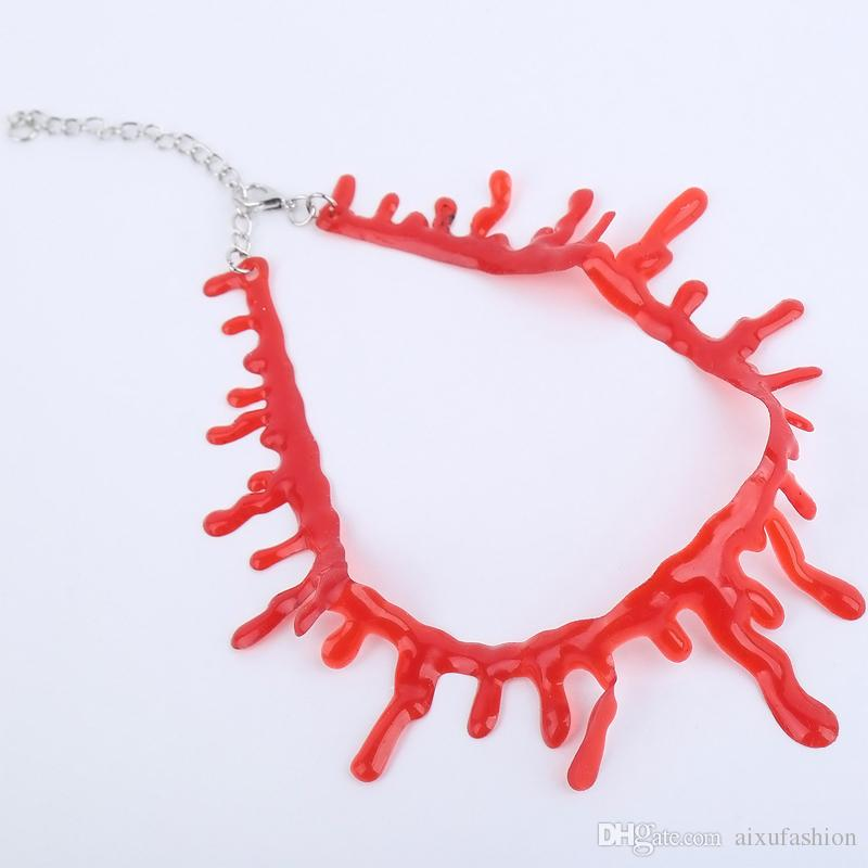 Fashion Originality Holloween Cosplay Costume Props Women Plastic Resin Choker Necklaces Halloween Bloodstains Necklace Decoration Party