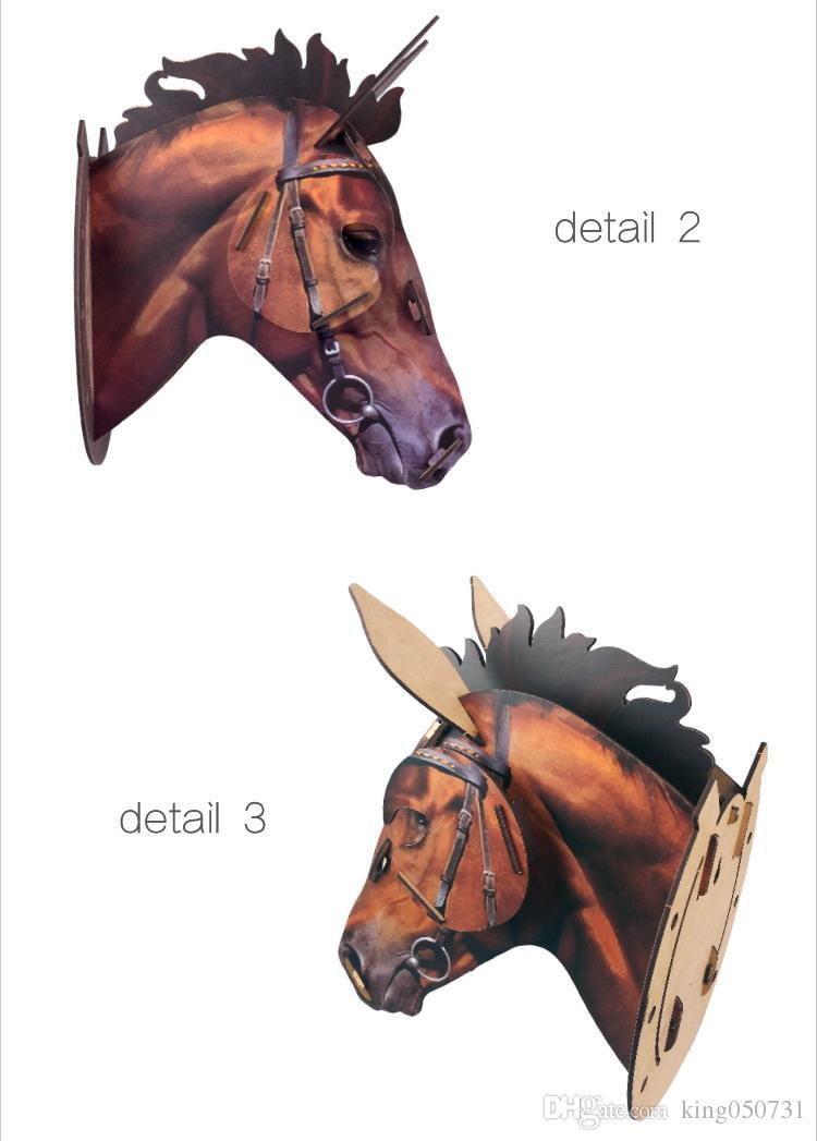 2016 nueva venda 3D artesanía de madera animal cabeza de caballo pared colgante madera pared decoración del hogar arte de la pared decoración de la pared tapiz