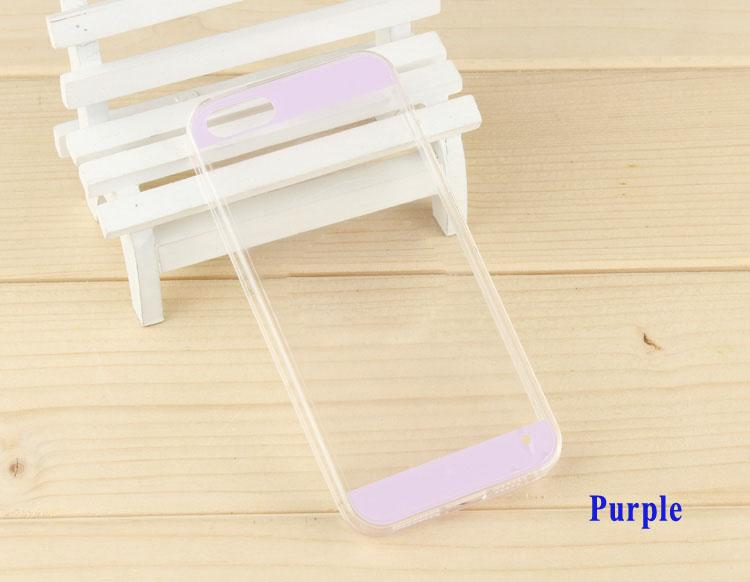 0.3mm Ultra Thin Transparent Acrylic Case Cover For iPhone 5 5s 5G Twin Colors Stripe Clear Acrylic Plastic Case Cover