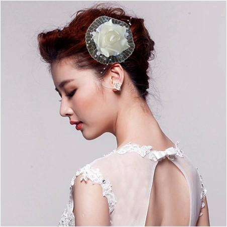 Sexy Bridal Hair Accessories Silk Foam White Rose Clips Wedding Party Head Pieces For Girls Womens