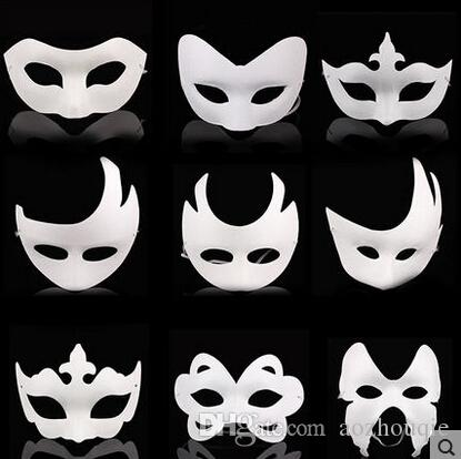 Wholesale White Unpainted Face Mask Plain Blank Version Paper Pulp Mask DIY Masquerade Masque Mask