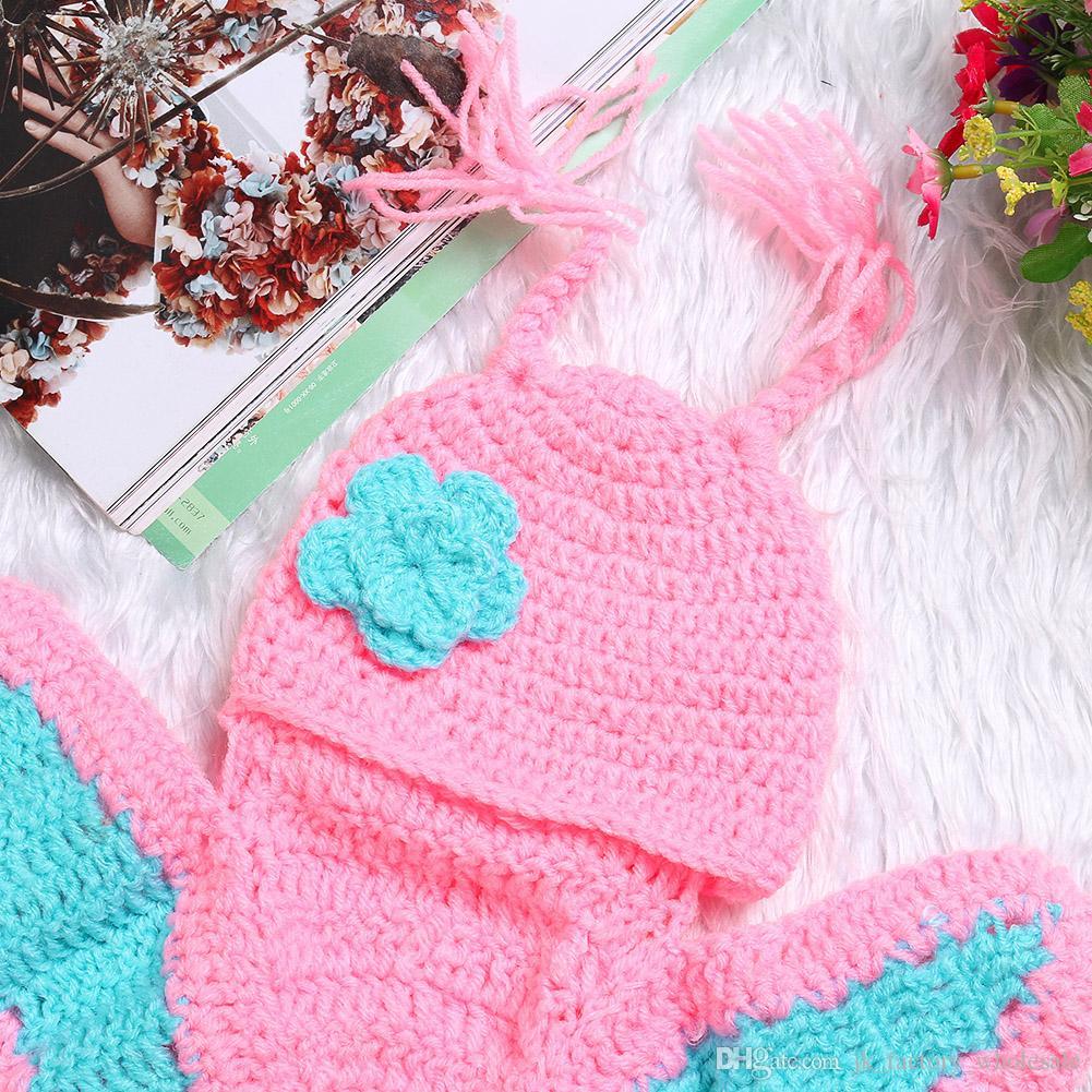 Yeni Sevimli Fotoğraf Fotoğraf Prop Tığ Örgü Yenidoğan Erkek ve Kız Aksesuarları Için Bebek Kıyafetleri Set
