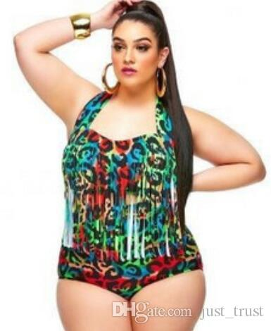 2016 Plus size 3XL Tankinis Set High waist halter tassel mummy sexy Brazilian floral print Plus Size Fringe Swimwear swimming suit