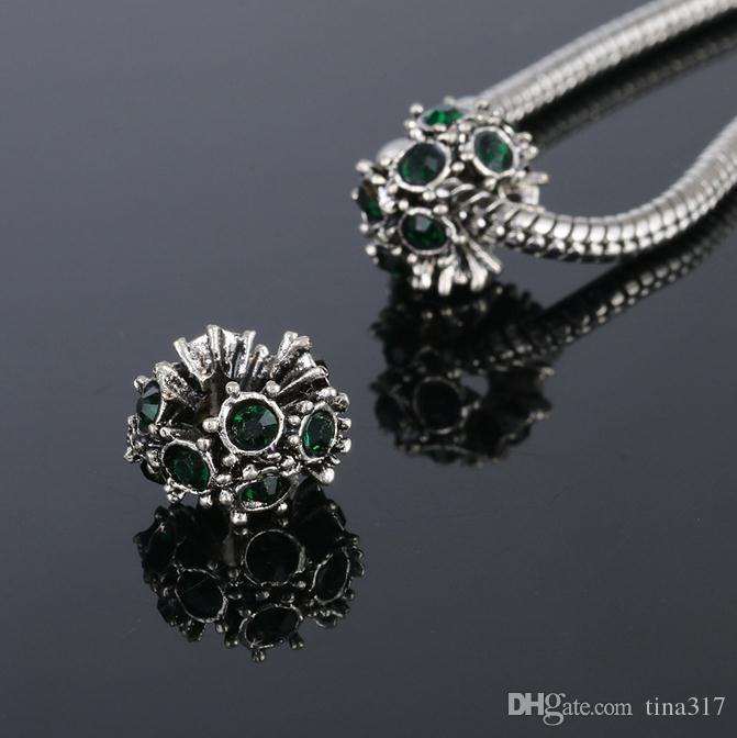 Nouveau Convient Bijoux Bracelets Grand Trou Perles Cristal Perles En Vrac Charmes Pour La Vente En Gros Bricolage Européen Collier Bijoux Accessoires 2530