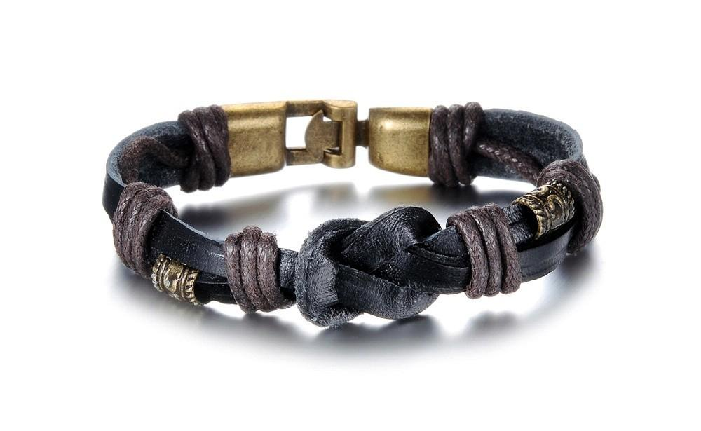 2018 vintage handmade double layer leather bracelets personalized